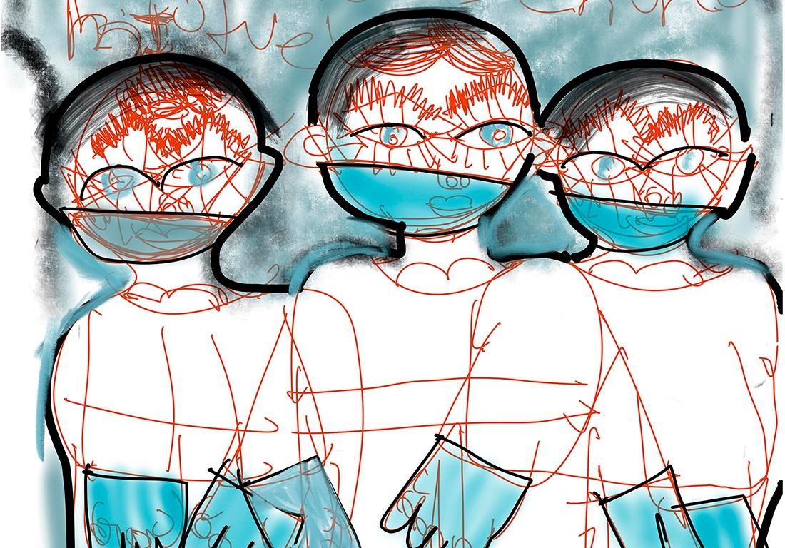 Autor Sebastian Lopez Duran - -Tirulo Doctores en covid - 80x80 cm -Tecnica mixta - año 2020