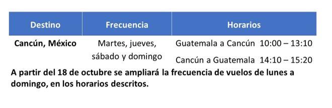 horarios tag cancun- guatemala